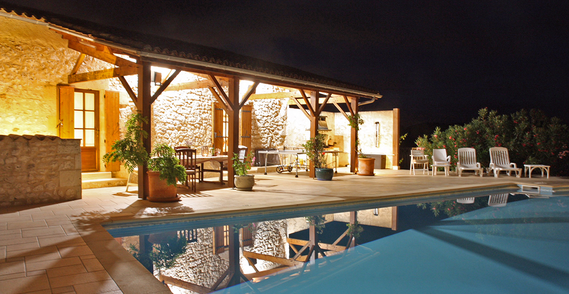 The pool and terrace at night