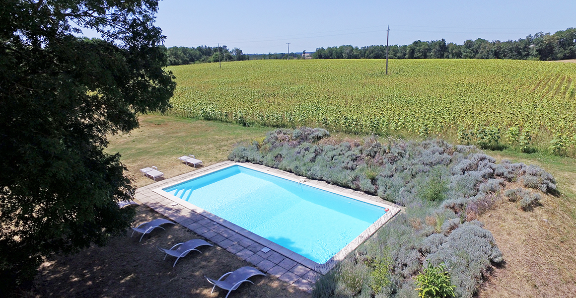 The pool looks out over the countryside